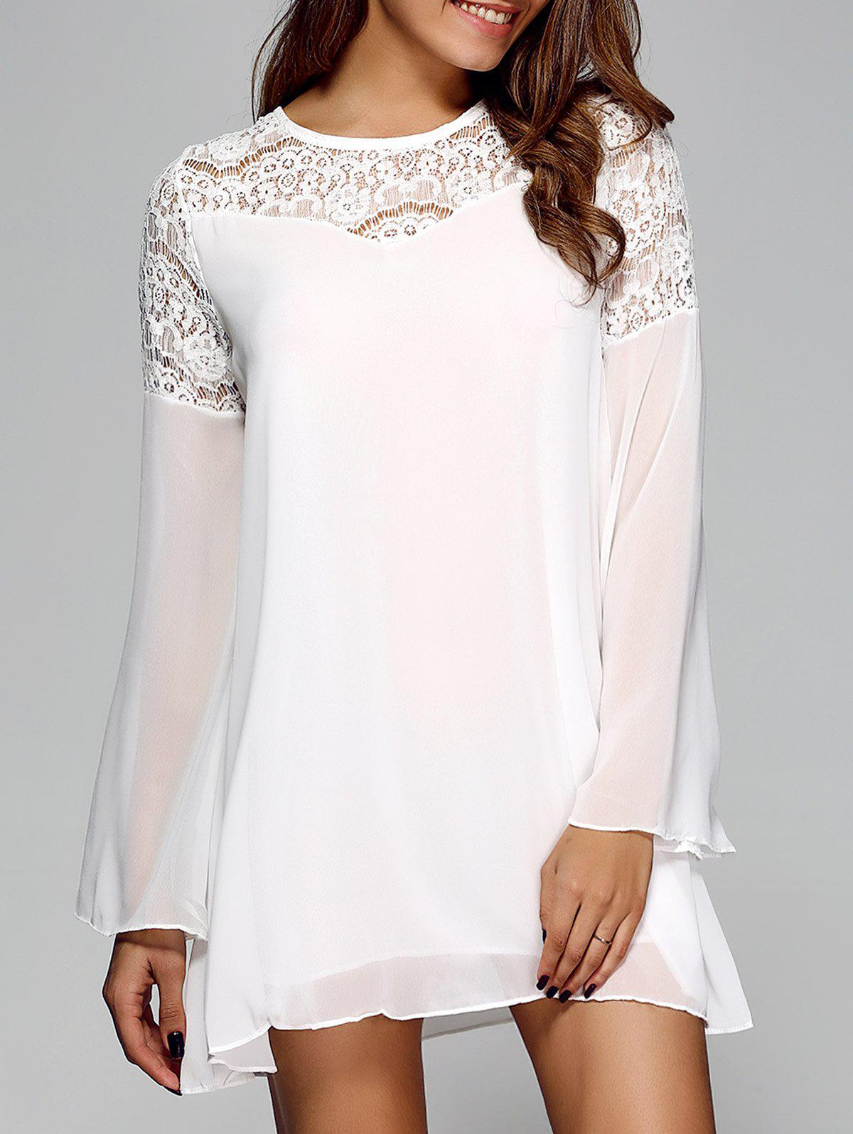 Store Openwork Bell Sleeve Chiffon Shift Dress
