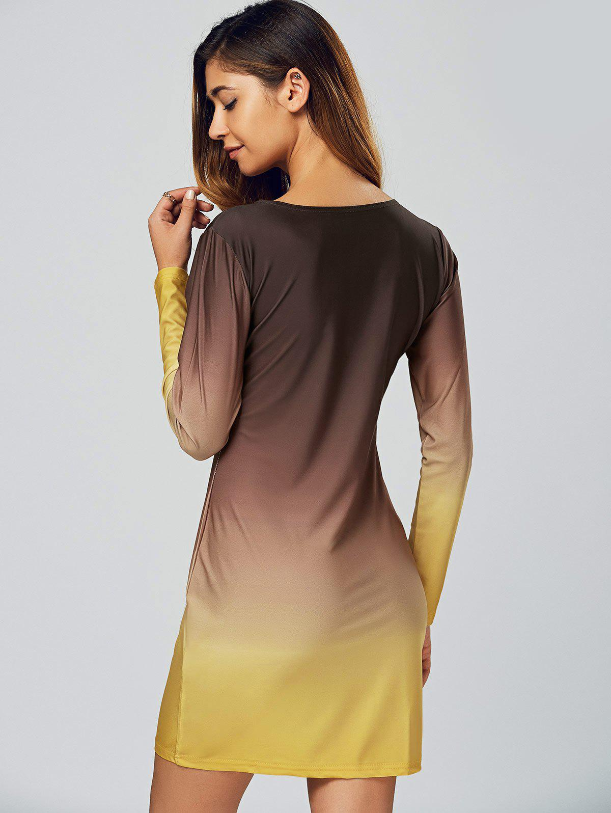 Coffee Yellow Xl Ombre Slimming Long Sleeve T Shirt Dress