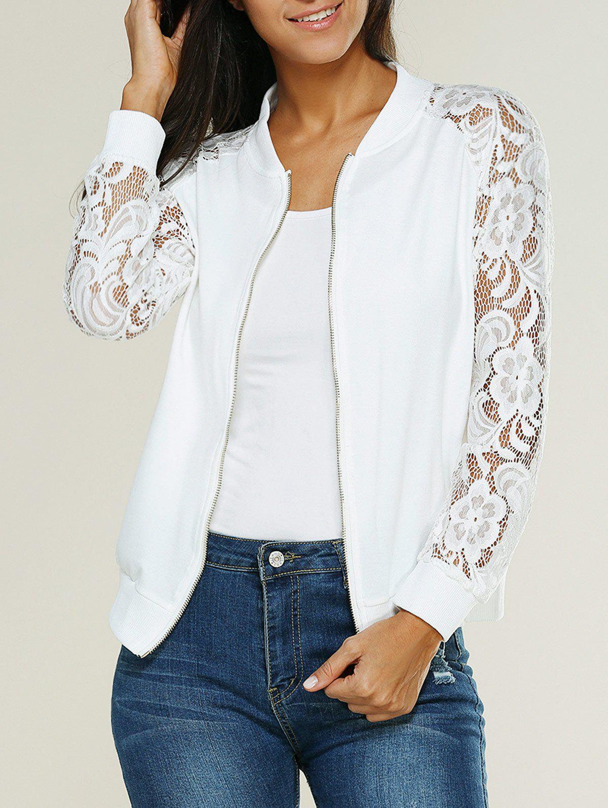 Lace Insert Bomber Zip Up JacketWOMEN<br><br>Size: L; Color: WHITE; Clothes Type: Jackets; Material: Cotton Blends; Type: Slim; Shirt Length: Regular; Sleeve Length: Full; Collar: Stand-Up Collar; Closure Type: Zipper; Pattern Type: Floral; Embellishment: Lace; Style: Casual; Season: Fall,Summer; Weight: 0.2710kg; Package Contents: 1 X Jacket;