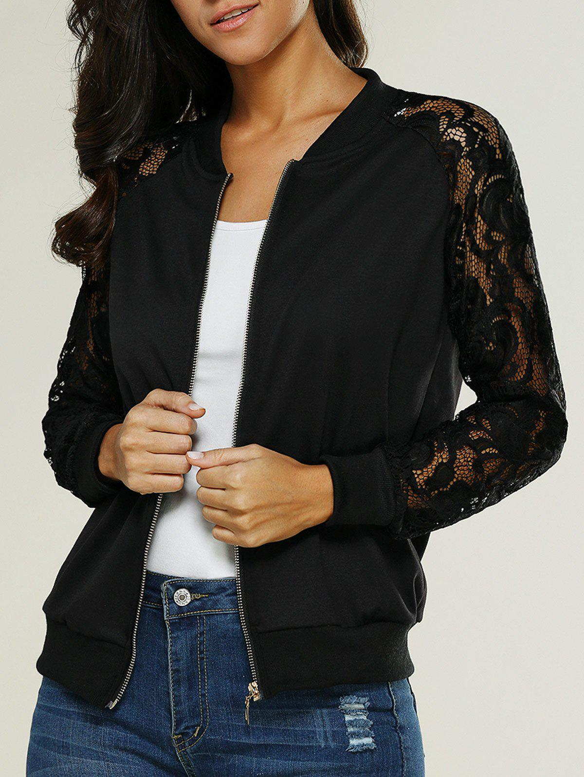 Lace Insert Bomber Zip Up JacketWOMEN<br><br>Size: XL; Color: BLACK; Clothes Type: Jackets; Material: Cotton Blends; Type: Slim; Shirt Length: Regular; Sleeve Length: Full; Collar: Stand-Up Collar; Closure Type: Zipper; Pattern Type: Floral; Embellishment: Lace; Style: Casual; Season: Fall,Summer; Weight: 0.2710kg; Package Contents: 1 X Jacket;