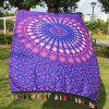 Hot Tassel Feather Printed Mandala Beach Scarf - PURPLE