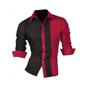 Color Block Splicing Design Turn-Down Collar Long Sleeve Shirt For Men - Red - Xl