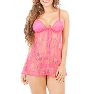 Cami Lace See-Through Badydoll - Rose Red - Xl