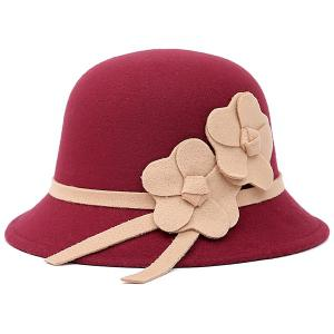 Dome Faux Wool Felt Floral Strappy Fedora Hat - Wine Red