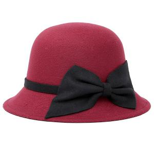 Bowknot Strappy Dome Fedora Hat - Wine Red