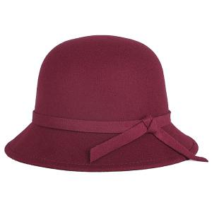 Winter Long Band Faux Wool Fedora Hat - Wine Red