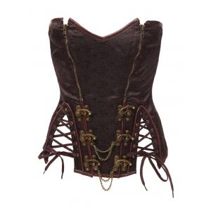 Strapless Skeletoned Lace-Up Corset With Panties - Brown - L