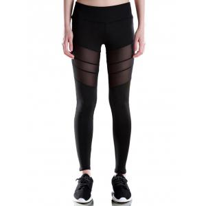 Voile Patched Stretchy Sport Leggings - Black - Xl