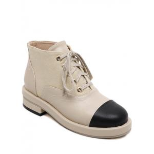 Splicing Two-Tone Tie Up Ankle Boots - Apricot - 38
