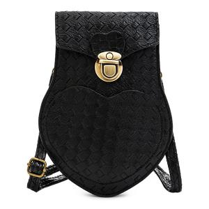 PU Leather Woven Pattern Irregular Shape Crossbody Bag