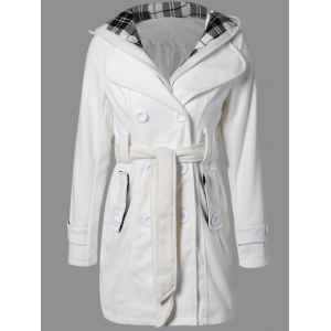 Hooded Belted Wool Blend Coat - White - M