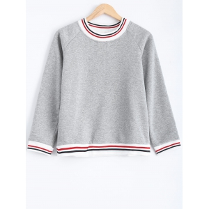 Striped Flocking Loose-Fitting Sweatshirt