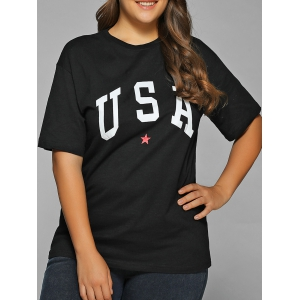 Star USA Print T-Shirt - Black - 2xl