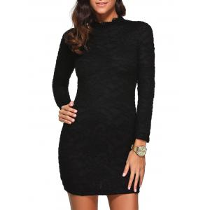 Mock Neck Long Sleeve Lace Short Dress - Black - 2xl