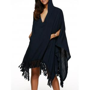 Handkerchief Hooded V Neck Fringe Cape Dress