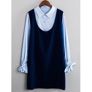 Striped Bowknot Shirt and Tank Dress Twinset - Blue - 3xl