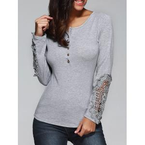 Buttoned Lace T-Shirt