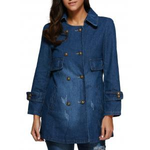Frayed Double Breasted Denim Coat