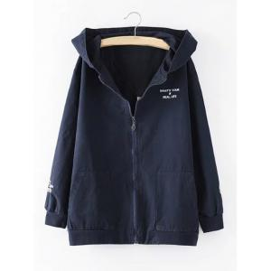 Hooded Letter Cartoon Embroidered Jacket