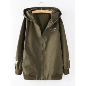 Hooded Letter Cartoon Embroidered Jacket - Army Green - Xl