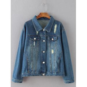 Flap Pockets Frayed Ripped Jean Jacket - Blue - Xl