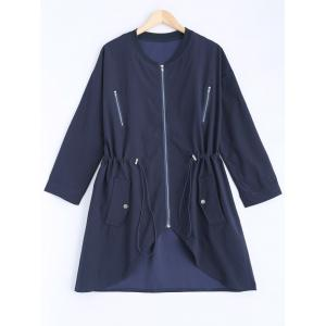Stand Neck Long Sleeve Plus Size Drawstring Coat - Cadetblue - 2xl