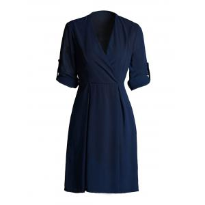 Hemming Sleeves Tied Belt Surplice Dress - Purplish Blue - L