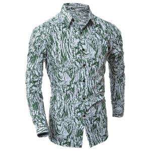 Camouflage Button Up Shirt - Green - L