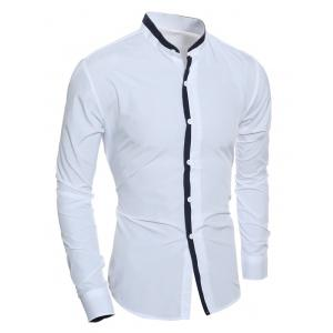 Color Block Edging Long Sleeve Grandad Chinese Collar Shirt