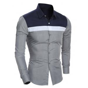 Color Block Splicing Turn-Down Collar Shirt