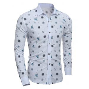 Anchor Stars Pattern Turn-Down Collar Shirt