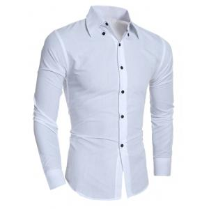 Rhombic Pattern Turn-Down Collar Shirt - White - M