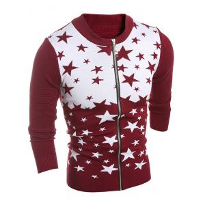 Color Block Star Pattern Zip-Up Cardigan
