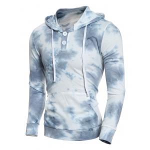 Hooded Ombre Bandhnu Button Embellished Hoodie
