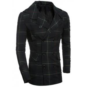 Double Breasted Turndown Collar Checked Coat