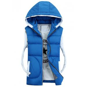 Hooded Thicken Zip-Up Down Waistcoat - Azure - M