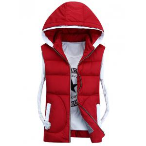 Hooded Thicken Zip-Up Down Waistcoat