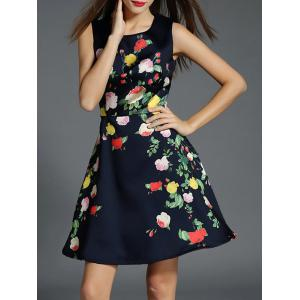 Floral Print Fit and Flare Floral Cocktail Dress - Black - L