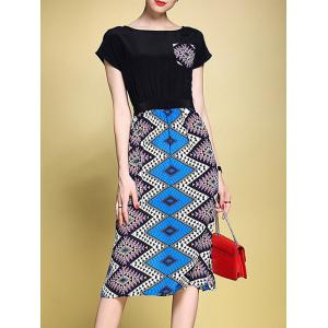 Abstract Zigzag Faux Twinset Sheath Dress