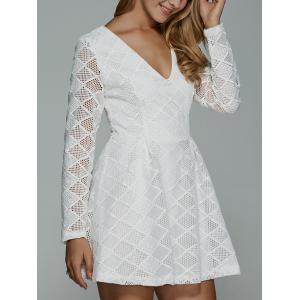 Long Sleeve Plunge Mini Skater Graduation Dress - White - M