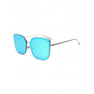 Hipsters Faux Jade Carve Leg Irregular Square Mirrored Sunglasses