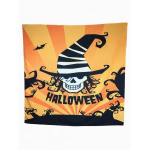 Halloween Carnival Skull Bat Pattern Big Square Scarf - Orange - L