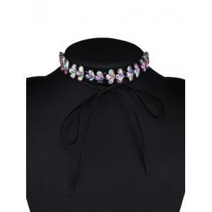 Tiered Rhinestone Flower Choker Necklace