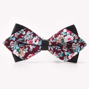 Banquet Flower Sharp-Angled Double-Deck Bow Tie - Wine Red - One Size