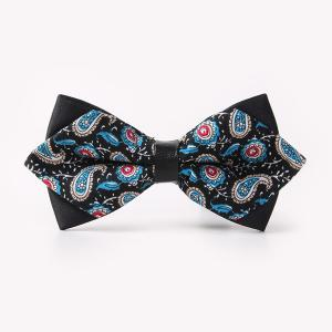 Banquet Paisley Printed Sharp-Angled Double-Deck Bow Tie - Black - One Size