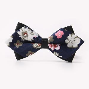 Banquet Small Flowers Sharp-Angled Double-Deck Bow Tie - Cadetblue - One Size