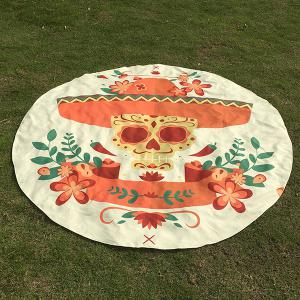 Motif Skull Flower festival Halloween plage ronde Throw