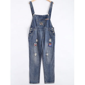 Patch Design Broken Hole Denim Overalls