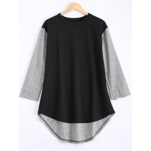 Plus Size Pinstriped Spliced Asymmetrical Blouse - Black - Xl