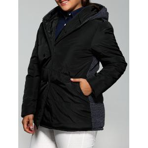 Plus Size Double-Breasted Knit-Insert Hooded Coat - Black - 3xl